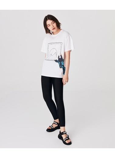 Twist Kadın Grafik Baskı  Tişört TS1210070058002 Beyaz